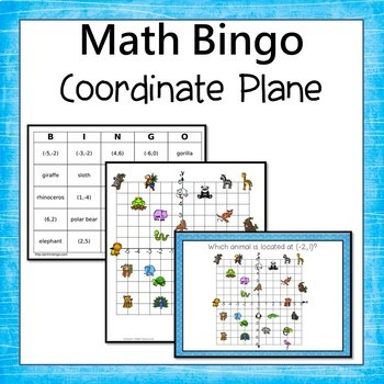 4 Quadrant Coordinate Grid Bingo