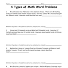 4 Types of Math Word Problems (Worksheet)