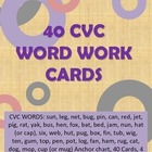 40 CVC Word Work Cards
