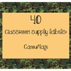 40 Classroom Supply Labels: Camouflage