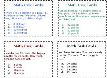 40 Math Task Cards--Math Station or Center