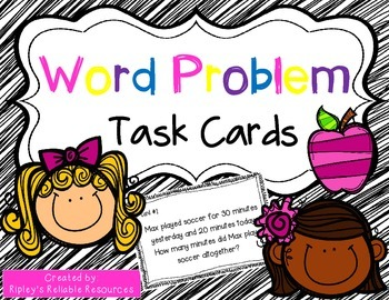44 Story Problem Practice Cards & Recording Sheet