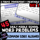 45 Daily Middle School Word Problems - Set 1