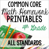 4th Common Core Math Homework Printables *All Standards*