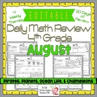 4th Grade Common Core Daily Math Review/Morning Work- August