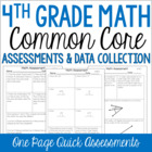 4th Grade Common Core Math Assessments and Data Collection