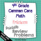 4th Grade Common Core Math Homework Printables Fractions