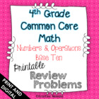 4th Grade Common Core Math Homework Printables Numbers and