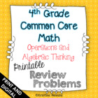 4th Grade Common Core Math Homework Printables Operations 