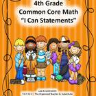 "4th Grade Common Core Math ""I Can Statements."""