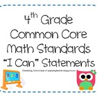 4th Grade Common Core Math Standards - I Can Statements (O