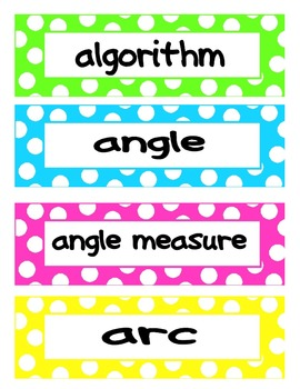 4th Grade Common Core Math Vocab Cards