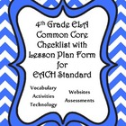 4th Grade ELA Common Core Checklist - Lesson Planning Form