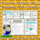 4th Grade ELA Common Core Menus and Checklists
