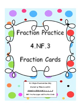 4th Grade Fraction Worksheets and Center Cards Common Core