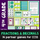 4th Grade Fractions &amp; Decimals Math Partner Games: 14 Game