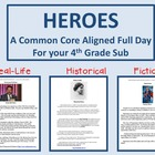4th Grade Full Day Emergency Sub Lesson Plans/Heroes Theme