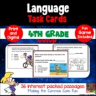 4th Grade Language Task Cards (And Game)!