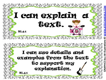 4th Grade Literacy Common Core ~I Can Statements~ Rock and