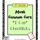 4th Grade Math Common Core Checklists (All Domains)