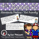 "4th Grade Math Common Core Standards Posters- ""Kid Friendly"""