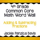 4th Grade Math Common Core Word Wall (Adding & Subtracting