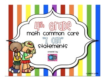 4th Grade Math I Can Common Core Standards