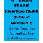 4th Grade STAAR Practice Math Test #1 Revised (same test,