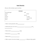 4th Grade Science-Static Electricity Vocabulary Worksheet