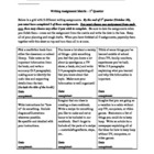 4th Grade Writing Assignment Matrix Quarter 1