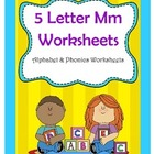 5 Letter M Worksheets / Alphabet &amp; Phonics Worksheets