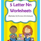 5 Letter N Worksheets / Alphabet & Phonics Worksheets