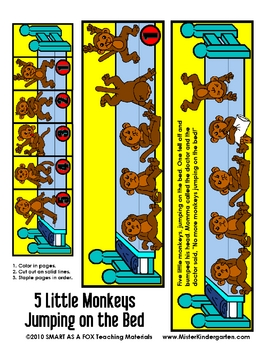 5 Little Monkeys Jumping on the Bed Flip Booklet