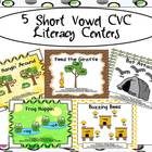 5 Short Vowel CVC Literacy Centers