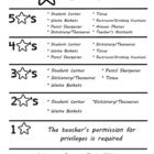 5 Star Students Behavior Chart