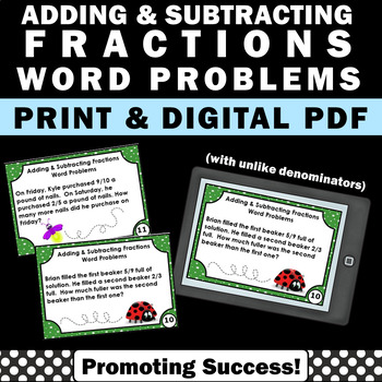 Adding and subtracting fractions with unlike denominators word problems pdf