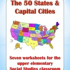 50 States & Capital Cities - Worksheets for upper elementa