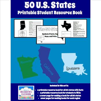 50 U.S. States - Printable Student Resource Book