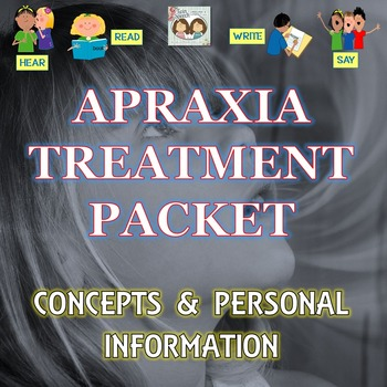 Apraxia Tx. Packet For Increased Verbal Accuracy of Concepts & Personal Info