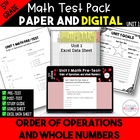 5th Common Core Unit 1 Math Test: Order of Operations and