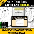 5th Common Core Unit 3 Math Test:  Decimals Part 2