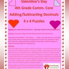 5th (Fifth) Grade Comm. Core- Valentine's Day Adding & Sub