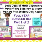 5th Grade Daily Math Vocabulary Slideshow Year Long Bundle