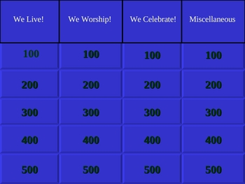 5th Grade Catholic Jeopardy