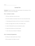 5th Grade Commas Test and Study Sheet