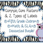 5th Grade Common Core CCSS Labels and Posters Math and ELA-Zebra
