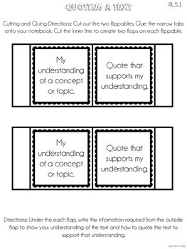 5th Grade Common Core Lapbook Templates 3-D Graphic Organi