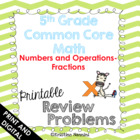 5th Grade Common Core Math Review Problems {Fractions}