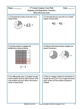5th Grade Common Core Math Homework Printables Fractions