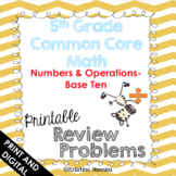 5th Grade Common Core Math Review Problems {Numbers and Op